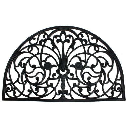 J & M Home Fashions Wrought Iron Half Round Natural Rubber Doormat, 24-Inch by 36-Inch (Round Wrought Iron)