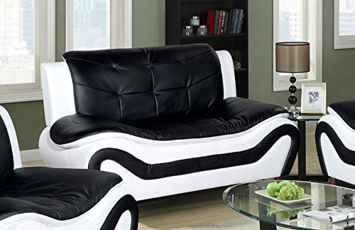 Golden Coast Furniture Black & White Ceccina Modern Leather Set Multiple Colors (Black & White)
