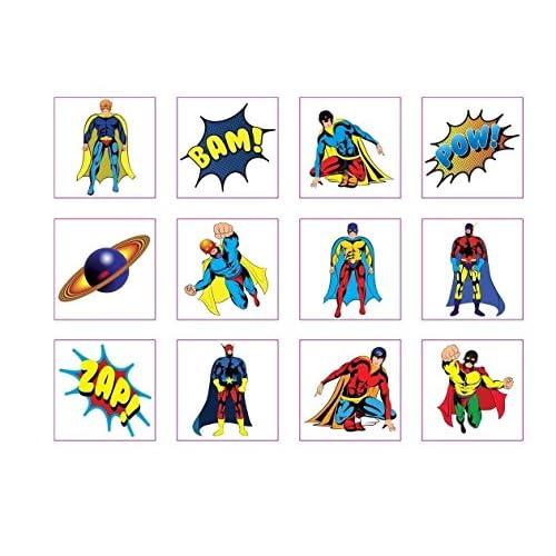24 Temporary super hero tattoos children kids goody party pinatta fillers by Henbrandt