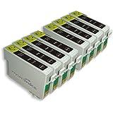8 Cartouches d'encre Compatibles pour Imprimante Epson Stylus SX218 - Noir- Avec Puce