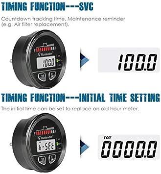 BI025 Runleader 12V to 48V Multifunction Battery State of Charge Meter Gauge,Digital Maintenance Hour Meter,Lead Acid,Gel,Lithium Iron,LiFePO4,Trojan,AGM,Battery Indicator,Battery Tester