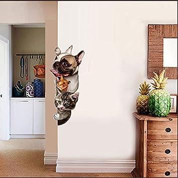 kuamai Lindo Divertido 3D Gatos Perros Puerta Pegatinas De Pared Extraíble Salón Porche Dormitorio Tatuajes De Pared Animales Mural Arte Wallpaper: ...