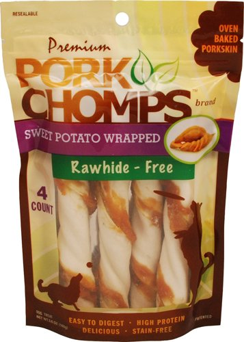 Scott Pet Products 4 Count Pork Chomps Sweet Potato Twistz Treat, Large ()