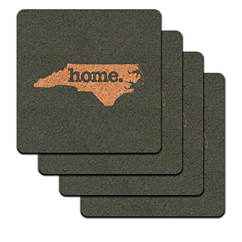 - North Carolina NC Home State Low Profile Cork Coaster Set - Solid Denim Blue