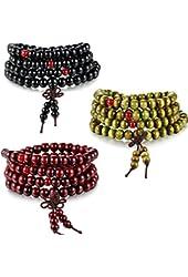 Besteel 3 PCS Mens Womens Wood Necklace Chain Bracelets 108 Buddhist Strand Wood Prayer Beads Sandalwood Link Wrist