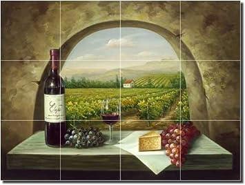 """Vineyard View - Tuscan Landscape Ceramic Tile Mural 18"""" x 24""""  Kitchen Shower Backsplash"""