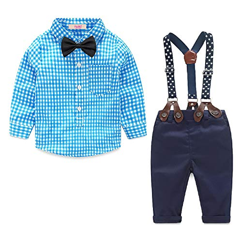 Newborn Baby Boy Clothes Easter Shirt +Long Pants+Bowtie 4PCS Outfits Set (3.5-4.5Years, Blue)