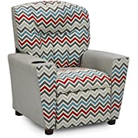 Kidz World Zoom Zoom Pewter Natural Kids Recliner with Cup Holder, Silver Suede