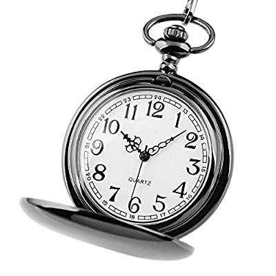 Jechin Classic Pocket Watch, Hunter Case, 14'' Chain, Comes in Silk-Lined Gift Box from Jechin