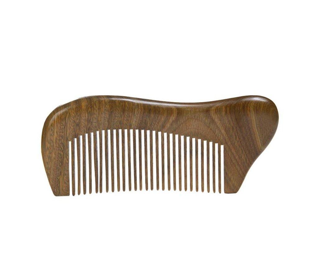 Xuxuou Peigne à barbe en bois, Bois de Santal et Corne de Buffle pour les soins de la des hommes et femme pas de statique pas de tangle
