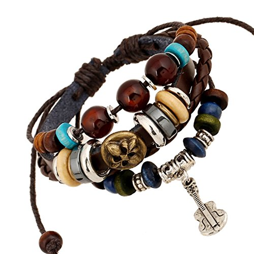 TEMEGO Jewelry Mens Womens Alloy Genuine Leather Braided Surfer Wrap Bangle Bracelet, Vintage Beads Violin Charm Cuff Bracelet, Adjustable Fits 7 12 Inch, Brown Golden Silver