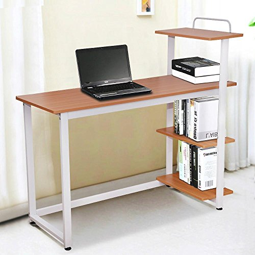 Yaheetech 4 tier shelving round corner wood computer desk home office study desk brown small - Corner desks with shelves ...