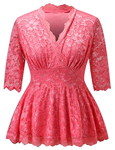 Women Casual Slim Fit Deep V-neck Short Sleeve Plus Size Dressy Evening Lace Tops ( Pink 5X ) (Dresses In 5x For Women)