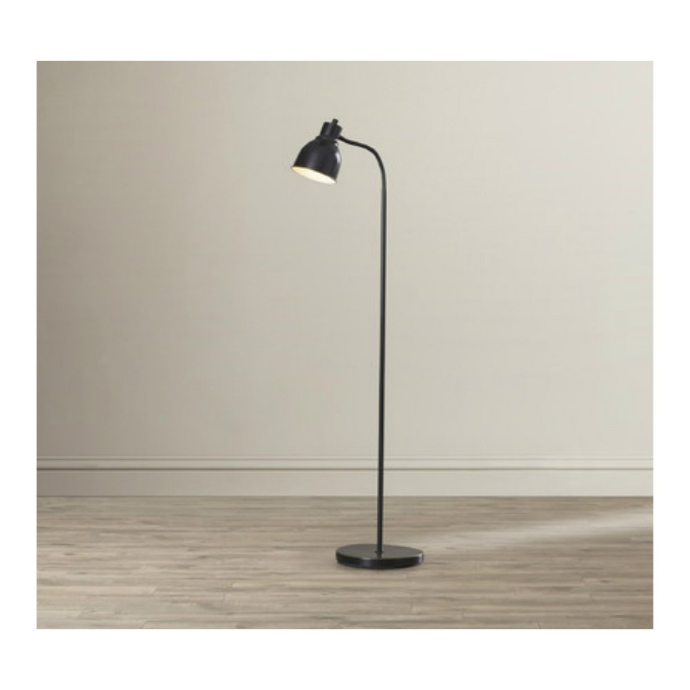 58-Inch Tall Simple & Classic Style Reading Task Floor Lamp with Bell Shade in Dark Bronze Finish
