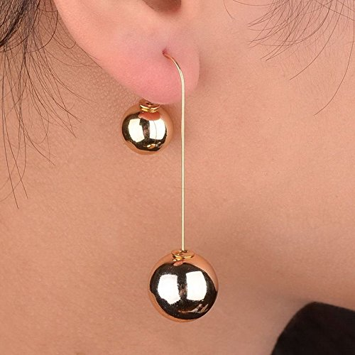 Prom Gold Plated Double Ball Two Sided Faux Pearl Dangle Bubble Earrings ()