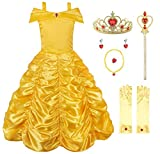 JerrisApparel Princess Belle Off Shoulder Layered Costume Dress for Little Girl (4 Years, Yellow with Accessories)