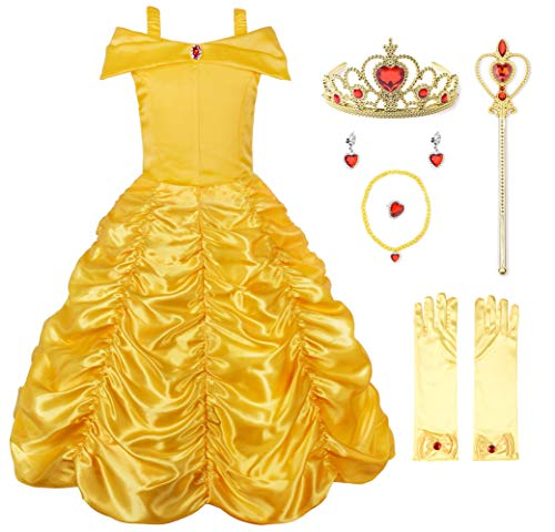 JerrisApparel Princess Belle Off Shoulder Layered Costume Dress for Little Girl (9-10 Years, Yellow with Accessories) -