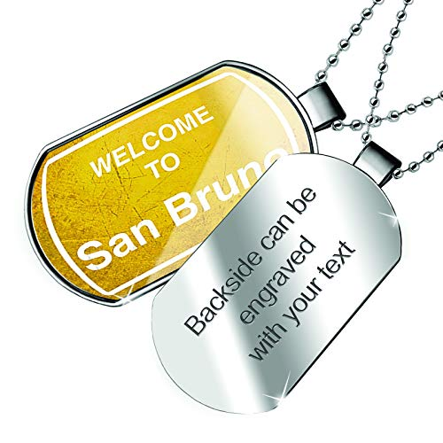 NEONBLOND Personalized Name Engraved Yellow Road Sign Welcome to San Bruno Dogtag ()