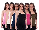 Unique Styles 6 Pack Women's Tanks Tops Adjustable Spaghetti Strap Cotton Cami (Small, Black, Brown, Fuchsia, Navy, White, Orchid)