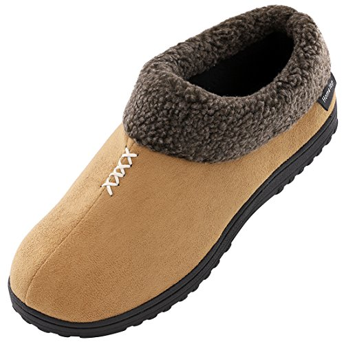 Faux Suede Fleece - Men's Cozy Memory Foam Slippers Fluffy Micro Suede Faux Fur Fleece Lined House Shoes with Non Skid Indoor Outdoor Sole (9 D(M) US, Camel)