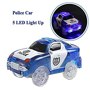 Car Toy Race Track Additional Pack Set of 2 Replacement Cars with LED Light Police Car for Kids 3 Year Old and Up Birthday Gift