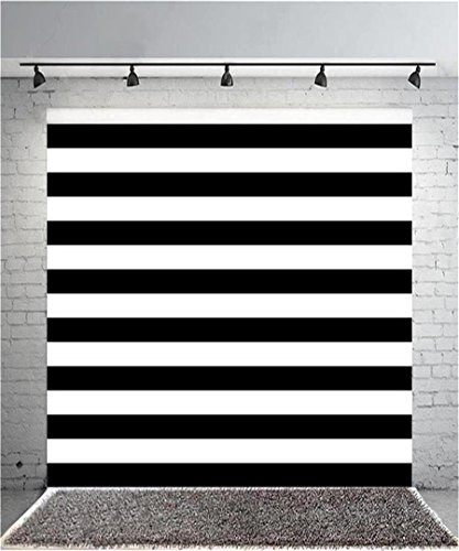 Leyiyi 4x4ft Photography Background Black and White Stripe Backdrop Happy Birthday Party Vertical Horizontal Stripes Summer Holiday Banquet Baby Shower Blog Make-up Photo Portrait Vinyl Studio Prop ()