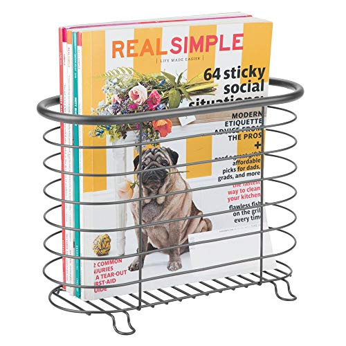 mDesign Decorative Metal Modern Farmhouse Magazine Holder and Organizer Bin - Standing Rack for Magazines, Books, Newspapers, Tablets in Bathroom, Family Room, Office, Den - Graphite - Bin Book Floor