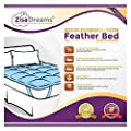 "Zisa Dreams Premium Comfort Baffle Box Feather Bed w/100% Cotton Shell - Cozy Mattress Topper, Hypoallergenic, 4"" Gusset with Bed Straps"