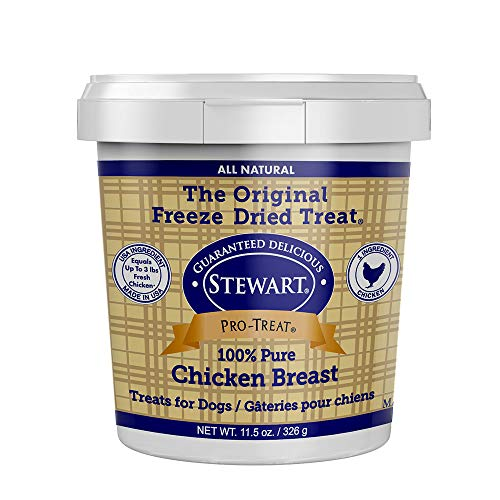 Stewart Pro-Treat, Freeze Dried Chicken Breast Dog Treats, Single Ingredient, Grain Free, USA Made, 11.5 oz. Resealable Tub