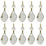 Royal Designs Replacement Chandelier Clear Crystal Prism K9 Quality Balloon Drop Prism with Polished Brass Connectors and an extra Octogan Crystal Bead Pack of 10