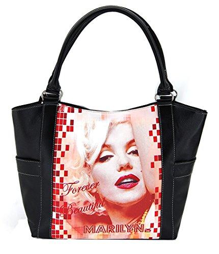 Marilyn Monroe Large Purse, Tote Style, Plus Keychain (Black) ()