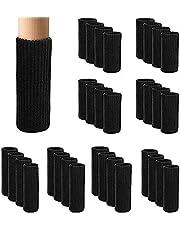 LANGING 32-delige meubelpotenset met zwarte, gebreide meubelpoten, houten vloerbeschermers, stoelsokken, zwart