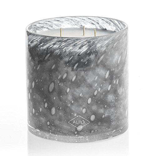 Alixx Ambre Light Grey Large Gray 200-Hour Three Wick Glass Candle Three Wick Glass