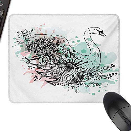 (Animal logitech Gaming Mouse padsize Hand Sketch Swan Bird Floral Details and Color Splashes Watercolors W8xL9.5(inch))