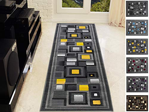 Handcraft Abstract - Yellow/Silver/Gray Geometric Modern Squares Pattern Area Rug 2 ft. by 7 ft. Runner.