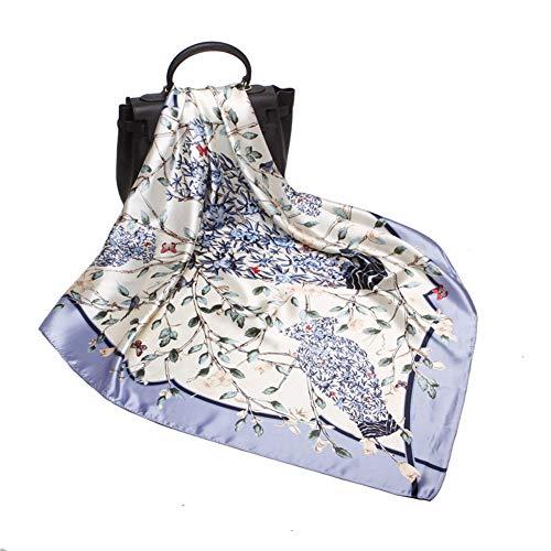 (Women's Silk Scarf Belt Pattern Large Square Satin Headscarf Headdress 35