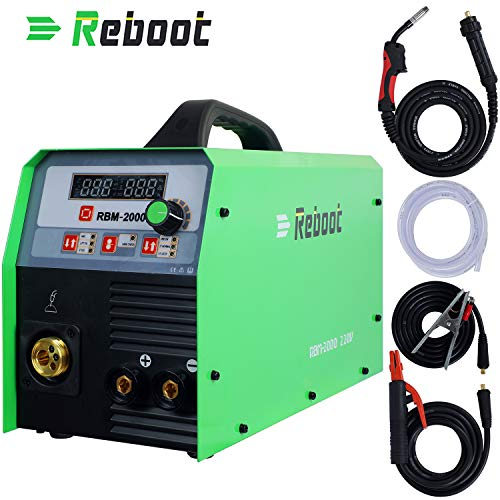 Reboot MIG Welder 220V,Gas and Gasless MIG/Stick/Lift TIG Welder 4 in 1 200A Flux Core/Solid Wire MIG Inverter Welding Machine for DIY Maintenance Metal Fabrication (Best Diy Tig Welder)