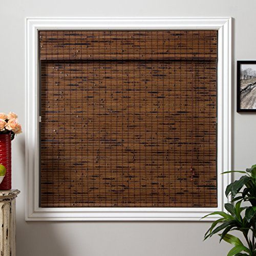 Arlo Blinds Java Vintage Light Filtering Bamboo Roman Shades Blinds with Valance - Size: 62