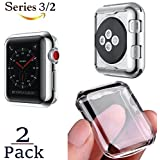 Josi Minea x2 Pcs Protective Snap-On Case with Built-in [ Clear ] Screen Protector - Anti-Scratch & Shockproof Ultra Thin Cover HD Shield Compatible with Apple Watch Series 3 & 2 [ 2 Pack - 42mm ]
