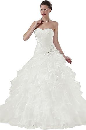 APXPF Femme Bustier en Organza Volants Robe de mariée pour