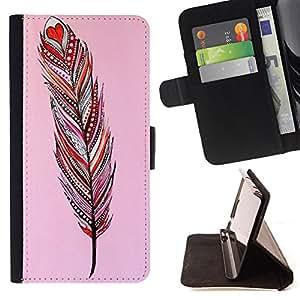 Dragon Case- Caja de la carpeta del caso en folio de cuero del tir¨®n de la cubierta protectora Shell FOR HTC One M7- Aztec Vintage Feather