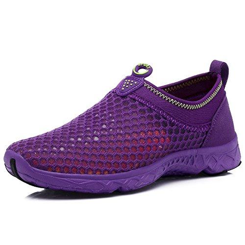 KRIMUS Womens Mens Water Shoes Lightweight Quick Drying Aqua Walking Shoes Slip-on-purple-39