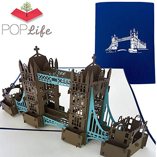 PopLife London Tower Bridge 3D Pop Up Greeting Card for All Occasions - UK Travellers, Architecture and History Lovers - Folds Flat - Birthday, Mothers Day, Graduation, Retirement, Anniversary