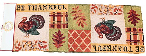 Twisted Anchor Trading Co Be Thankful Turkey Fall Table Runner Thanksgiving Table Runner Tapestry Style Autumn Home Decor 72 in x 13 in (Turkey Table Runner)