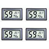 Eillet 4-Pack Small Thermometer Hygrometer, Digital Indoor Humidity Temperature Meter with LCD Display
