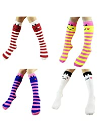 Sept.Filles Girl's Knee High Socks Cartoon Cat Stockings Socks 4 Packs