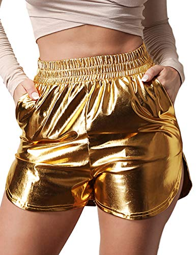 Women's Shiny Metallic Shorts Summer Yoga High Waist Hot Shorts Gold S