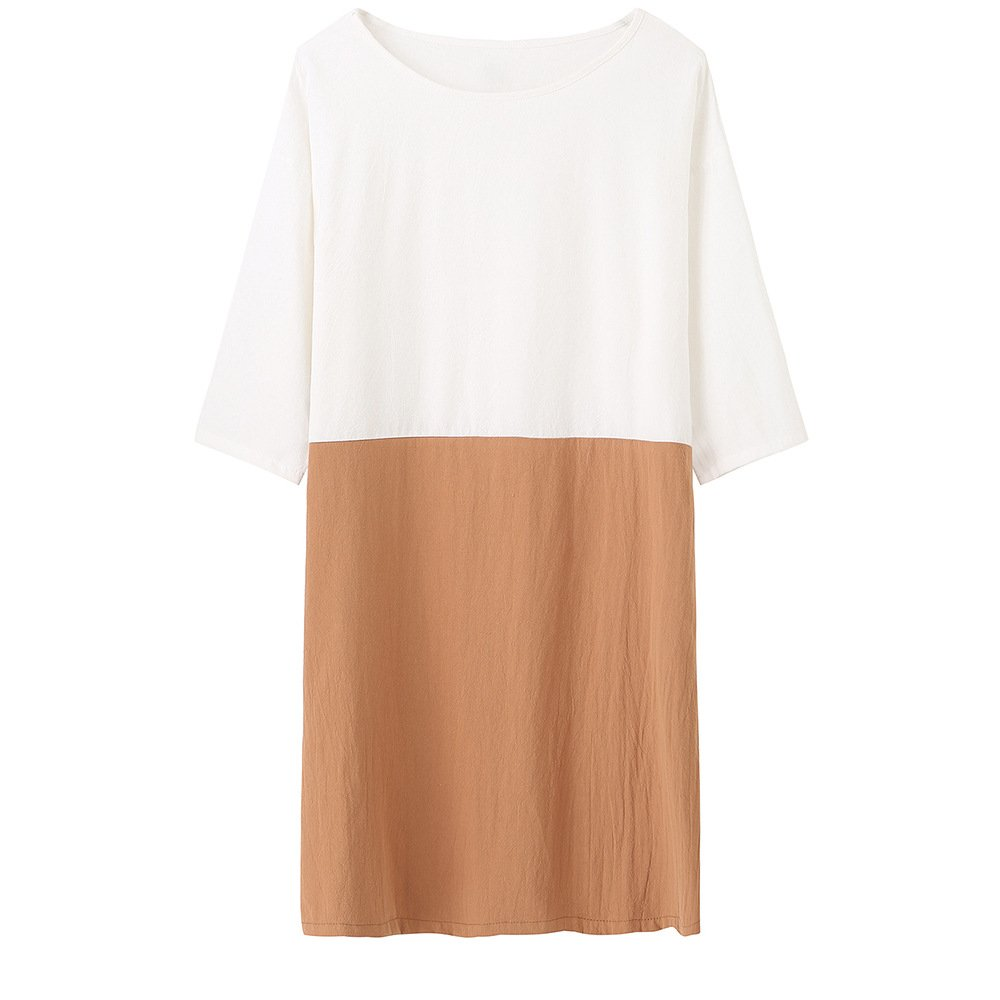 Helisopus Women's Cotton Linen Summer Dress Soft Loose Patchwork Plus Size Three-Quarter Sleeves Dresses