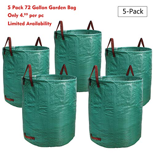 PHYEX 5-Pack 72 Gallons Garden Bag Heavy Duty Gardening Bags, Lawn Pool Garden Leaf Waste Rubbish Plants Grass Bag (5 X 72Gallons) ()