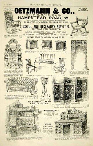 1895 Ad Antique Victorian Sofa Desk Chair Japanese Screen Oetzmann & Co. London - Original Print Ad